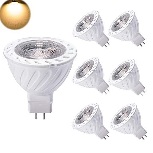 7W Lampadine GU5.3 MR16 LED 12V Faretti Luce Bianco Caldo Equivalente a 50W Alogena GU 5.3 3000K COB 550LM Non-Dimmerabile Confezione da 6