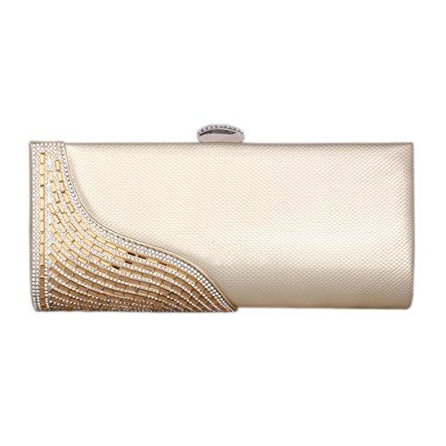 Damara® Fashion Damen Glattleder Clutch Abendtaschen Mit Strassstein Gold