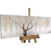 KunstLoft® cuadro acrílico 'Sauce llorón en la niebla' 150x50cm | Original pintura XXL pintado a mano en lienzo | Árbol abstracto para oficina | Mural acrílico de arte moderno en una pieza con marco