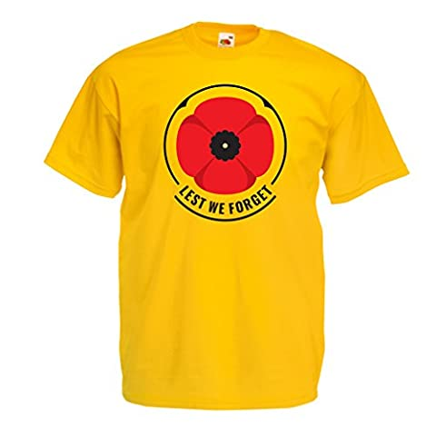 T shirts for men Remembrance day symbol - red poppy! Lest we Forget! (Large Yellow Multi Color)