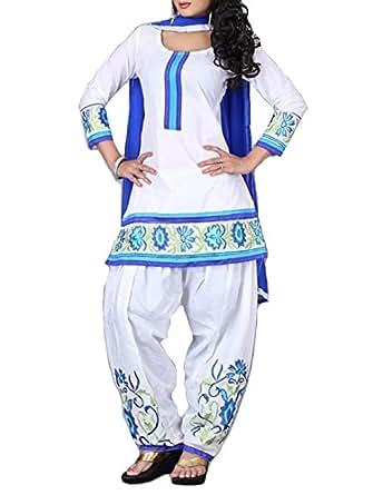 Grapsy fashion White cotton salwar suit