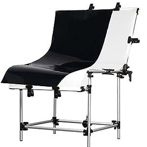 RPGT® Photographique Table de prise de vue de base 60 x 130cm Panneaux en PVC noir et blanc de deux Shooting Table Nature Morte Produit Shooting