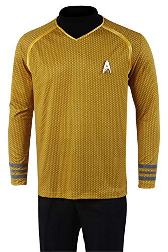 Captain Kostüm Kirk Star Trek Shirt - Manfis Star Trek Captain-Kirk-Kostüm--Herren Uniforme T-Shirt, Gelb