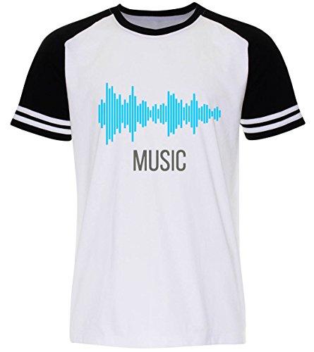 PALLAS Unisex's Sound Music Equalizer T Shirt White Sleeve Black