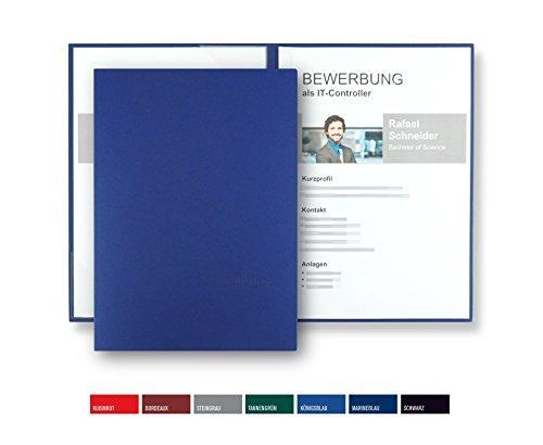 8 Stück zweiteilige Bewerbungsmappen BL-exclusivdruck® BL-plus in Königsblau - Premium-Qualität mit edler Relief-Prägung 'Bewerbung' - Produkt-Design von 'Mario Lemani'