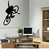 GROßE BMX BIKE KINDER KUNST SCHLAFZIMMER WAND GROßE WANDAUFKLEBER SCHABLONE VINYL AUFKLEBER 68x47cm