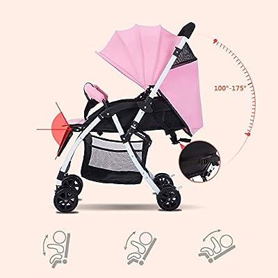 XYL Silla de Paseo Plegable Doble para niño/bebé con una combinación de Canasta de Almacenamiento Grande Arnés de Cinco Puntos Tragaluz Grande Cochecito cómodo,Natural