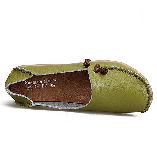 Gaatpot Cuir Loafers Décontracté Mocassins Antidérapant Bateau Chaussures Confort Conduite Chaussures Pour Femme,Taille 34-44 Vert