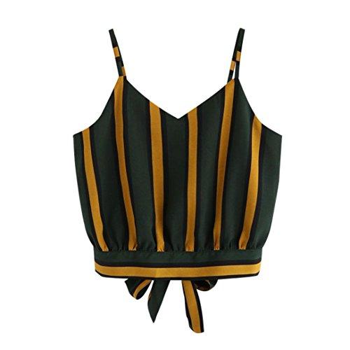 BHYDRY Women's Casual V-Ausschnitt Streifen gesäumt Krawatte zurück Crop Cami Tops Hemd Hemd Weste(Grün,S)