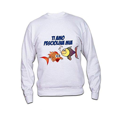 Felpa Love Personalizzata Girocollo o Con Cappuccio Pesciolina Mia Maglione per Coppie di Innamorati Bianco