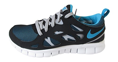 Nike Free Run 2 (Gs), 443742-021, Unisex - Kinder Laufschuhe Training black blue lagoon wolf grey 040