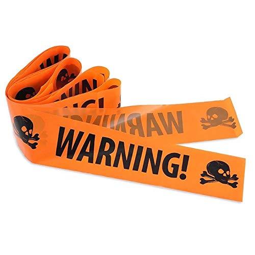 nd Warnband Dekoration - Warning! | Warnung mit Giftsymbol/Schädel - Orange/Schwarz - 8 cm Breit, Länge Ca. 6 Meter ()