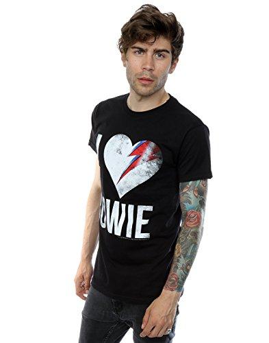 David Bowie Herren I Love Bowie T-Shirt Schwarz