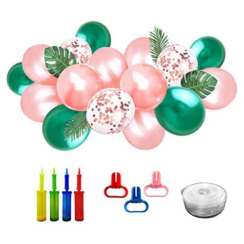Hawaiian Partydekorationen Latex Ballon Bouquet Set Party Luftballons Pailletten Luftballons mit Gefälschten Monstera Blätter Sonnenblumenblatt 12 Zoll (Grün Metallic Farbe) ()