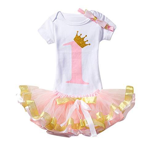 Mädchen Glänzend Streifen Baby Girl Ärmellos/Bedrucktes Tutu mit langem (50's Girl Kostüm Ideen)