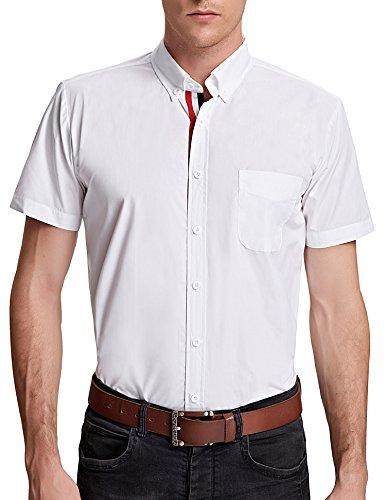 Business Casual Hemd Slim Fit Shirt Super Modern Kurzarm Hemd Weiß XL CL5542D-3 (Weißes Kurzarm-hemd Mit Kragen)