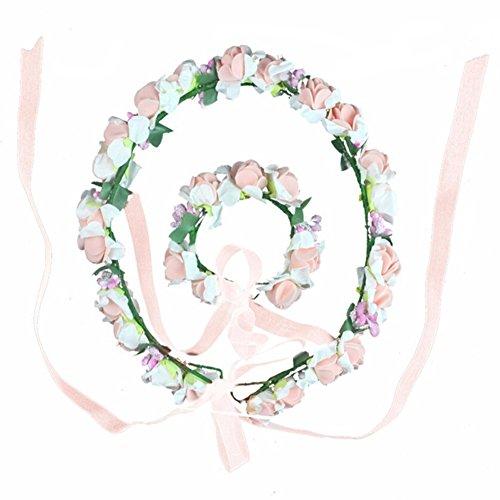 Qiao Nai (TM) 2er Set Festlich Blumen Fairy Blumenstirnband Armband Kopfschmuck Haarband Kopfband Kranz für Kinder Mädchen Hochzeit Abendkleid B (Qn-set)