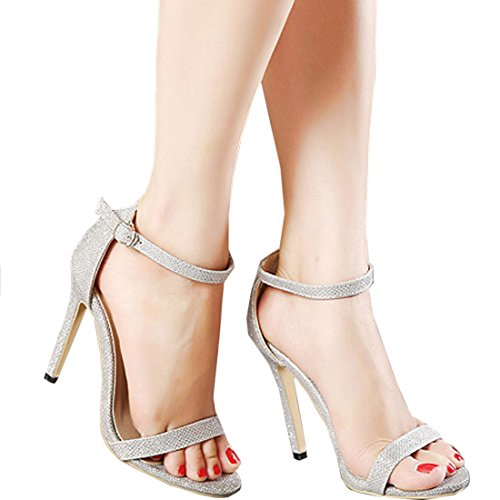 Oasap Simple Ankle-strap Buckled Summer Women Stiletto Sandals golden