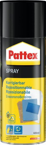 Pattex 272827 Adhésif en aérosol Power Spray corrigible, Noir/Jaune