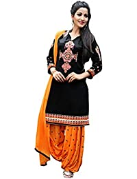OSLC Black Cotton Patiala Salwar Suit Women's Cotton Patiala Salwar Bottoms Blue Designer Cotton Semi-stitched...