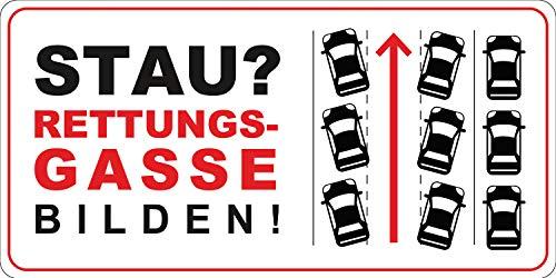 Stau? Rettungsgasse bilden! Aufkleber I Format 22 x 11 cm I für alle Fahrzeug-Typen, Anhänger Wohnwagen I hin_544