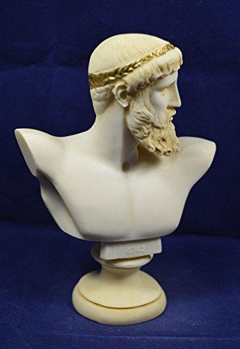 ZEUS Skulptur Büste Antike Griechische Gottes King of Alle Götter Statue Aged - Griechische Skulptur