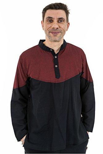 - Chemise ethnique col mao boutons coco noir bordeaux Nepal - Rouge