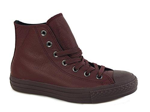 Scarpe unisex Converse All Star Hi Leather Monochrome, tomaia in pelle, colore bordeaux, art. 155131C