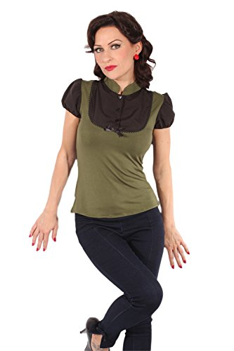 SugarShock Damen Retro Puffärmel pin up Rockabilly Military Bluse T-Shirt oliv schwarz M -