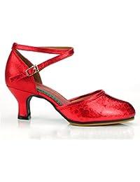 WXMDDN Zapatos de Baile Latino Mujer Zapatos de Baile Rojo Adulto Seasons  5.5cm Zapatos de Baile Al Aire Libre… ad19802e3e82