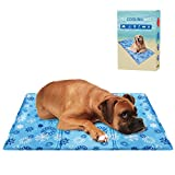 BINGPET Dog Cooling Mat Large - Pet Self Cooling Gel Pad for Summer Sleeping Beds Kennels Crates - Snowflake Pattern 90 x 60 cm