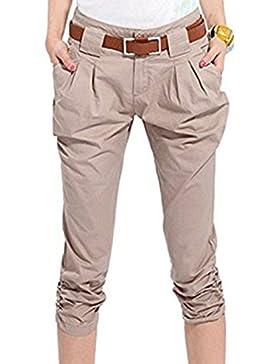 Pantaloncini stile Harem per donna - Pantalone corto pantalone 3/4 Tasche elasticizzate Pantalone misto cotone...