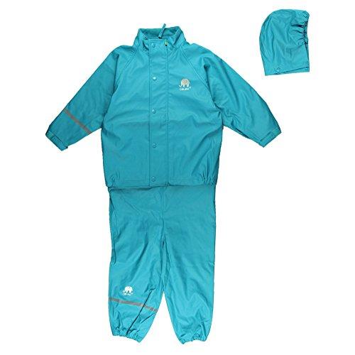 CeLaVi Kinder Unisex Regen Anzug, Jacke und Hose, Alter 6-7 Jahre, Größe: 120, Farbe: Türkis, 1145 (Reißverschluss Vorne Kinder Stiefel)
