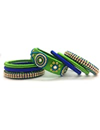 Qualiyo Pink Blue Green Silk Thread Bangles Set Size 2.6,2.4,2.2,2.8 For Women Silk Thread Bangles Blue & Girls...
