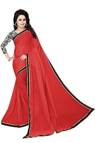 J B Fashion Women's Georgette Saree With Blouse Piece (02--02_Red)