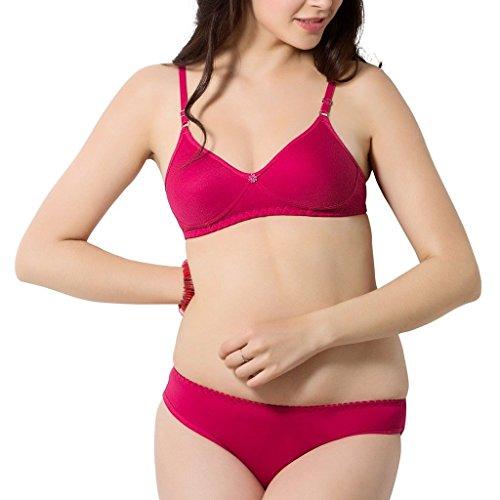 SIMONI Women's Non-Wired Poly Cotton Bra and Panty Set (Rani, 36)