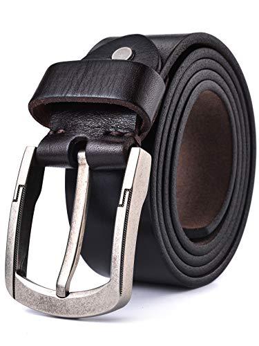 Alice & Elmer Ledergürtel für Herren aus 100% Echt-Leder Herrengürtel - Gurtel 3,8 cm breit - Anzug-Leder- Vollrindleder-Jeans Gürtel (Gürtelgröße: 120 cm (Taillenumfang: 38 ''), Dunkler Kaffee)