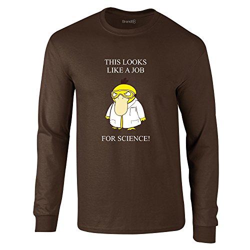 A Job For Science, Erwachsene Langarm-T-Shirt, Dunkelbraun/Weiß/Transfer, XL -111-116cm