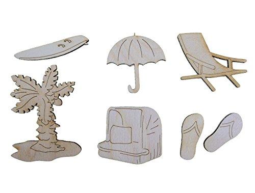 Petra's Bastel News A-BEAS1 12-teilig Holzset Strand, bestehend aus 7 Verschiedenen Designs, holzfarbe, 12 x 10 x 3 cm