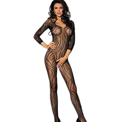 Damen Sexy Crotchless Lange Ärmel Bodystocking Schwarze Ausdehnung Exotischer Dessous Catsuit (Ärmel Crotchless Bodystocking Lange)