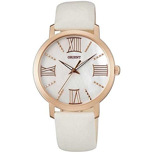 ORIENT WOMEN'S 35MM LEATHER BAND ROSE GOLD PLATED CASE QUARTZ WATCH FQC0E002W0