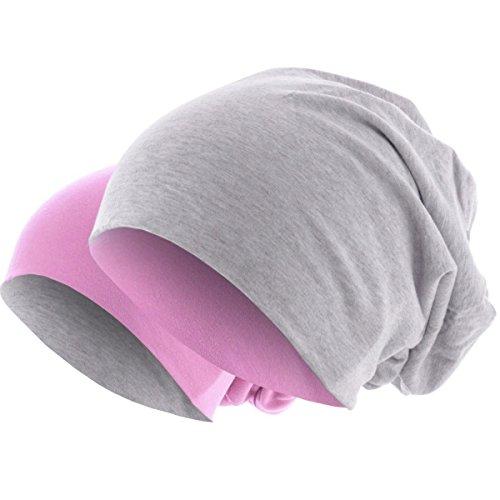 Hatstar Slouch Long Beanie 2in1 Reversible Jersey Mütze in 44 Farben (Rosa/Hellgrau)
