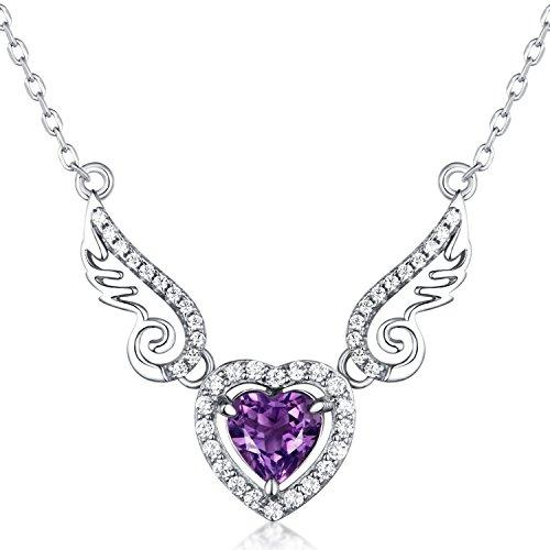 Sterling Silber und natürliche Amethyst Edelstein Angell Flügel und Herz Anhänger Halskette Valentinstag Geschenke für Frauen