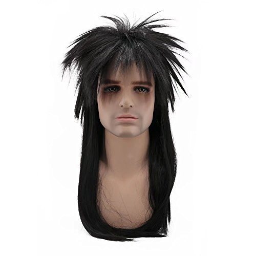 COSPLAZA Perücke 80s Heavy Metal Rocker Cosplay Wig Adult Long Straight Black Spiked Mullet Hair for (Lilo Halloween Kostüme)