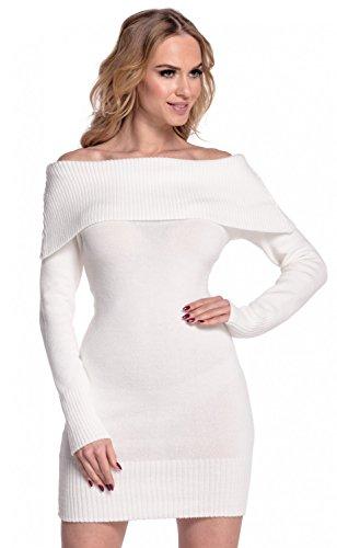 Glamour Empire. Femme Robe en maille encolure Bardot manches longues. 909 écru