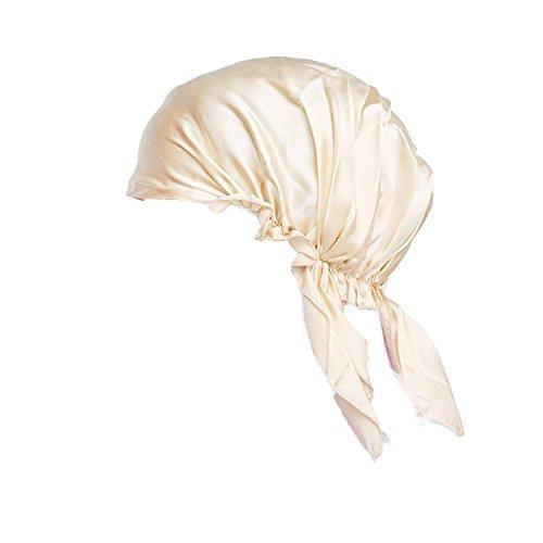 MsSilk® atmungsaktive Schlafhaube aus reiner Seide, farbenfrohe Schlafmütze mit Bändern Gr. Einheitsgröße, beige