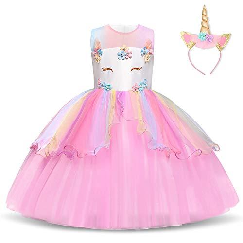 NNJXD Vestido de Unicornio para niñas Fiesta de Apliques de Flores Cosplay Disfraz de Halloween + Gorros Tamaño (120) 4-5 años Rosa