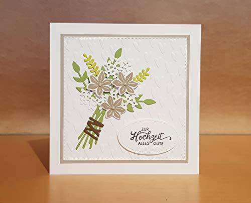 Hochzeitskarte, Glückwunschkarte, Karte zur Hochzeit, Handarbeit - Taupe Strauß