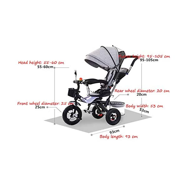 BGHKFF 4 In 1 Kids' Trikes 6 Months To 5 Years 360° Swivelling Saddle Pram Easy To Assemble Adjustable Push Handle 5-Point Safety Belt Folding Sun Canopy Childrens Tricycles Maximum Weight 25 Kg,Grey BGHKFF ★Material: Steel pipe, suitable for children from 6 months to 5 years old, the maximum weight is 25 kg ★ 4 in 1 multi-function: can be converted into a stroller and a tricycle. Remove the guardrail and awning as a tricycle. ★ Baby tricycle with 360° swivel seat, baby can face parents, easy for parents to take care of the baby, detachable and adjustable sunroof to provide maximum comfort for your child. 4