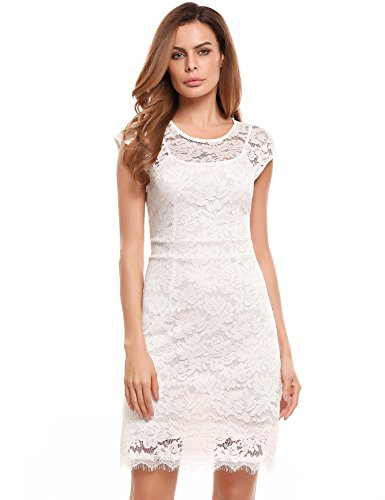 Meaneor Damen Elegantes Spitzen kleid Mini Sommerkleider Etuikleid Partykleider Abendkleid mit Spaghettiträger